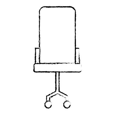 Comfort armchair wheels furniture office vector illustration sketch design