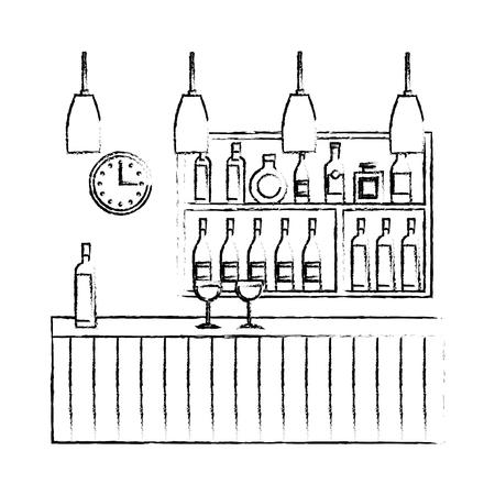 Bar restaurant interior shelf counter beverage alcohol and glass cups vector illustration sketch design Illustration