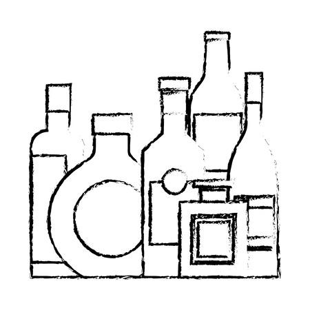 컬렉션 병 주류 음료 음료 벡터 일러스트 스케치 디자인