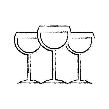 Set glass wine cups drink image vector illustration sketch design