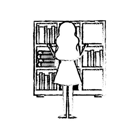 Bookshelf young woman choosing a book back view vector illustration sketch design