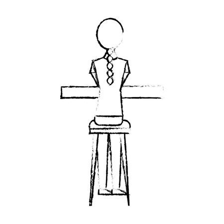 Back view young woman sitting on stool and counter vector illustration sketch design Stock fotó - 97852867