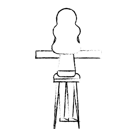 Back view young woman sitting on stool and counter vector illustration sketch design