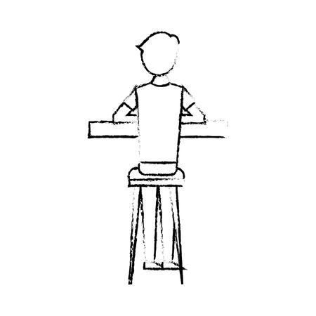 スツールとカウンターベクターイラストスケッチデザインに座っているバックビュー漫画の男