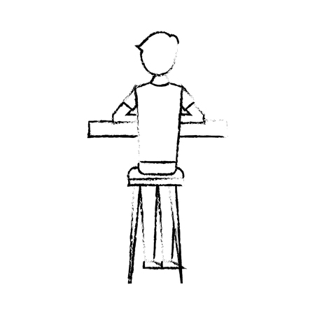 Back view cartoon man sitting on stool and counter vector illustration sketch design
