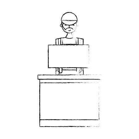Barista male in uniform standing behind cash register vector illustration sketch design