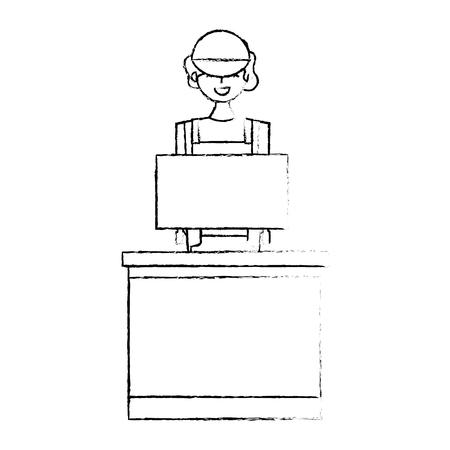 Barista female in uniform standing behind cash register vector illustration sketch design Ilustração