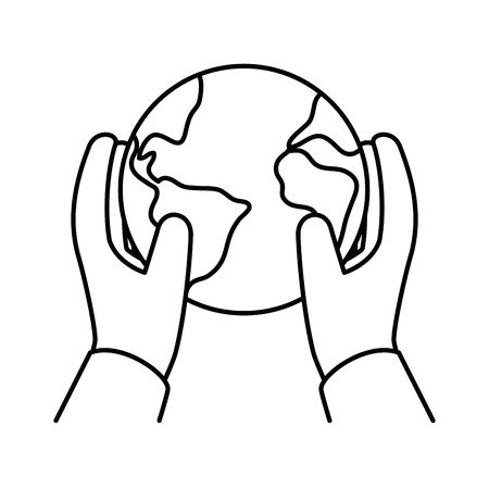 hands protected world planet earth icon vector illustration design Illustration