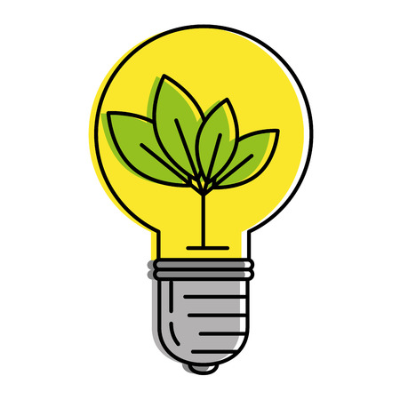 bulb with leafs energy light icon vector illustration design