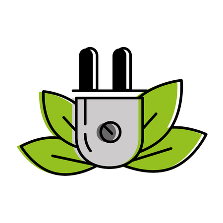 leafs plant with energy connector ecology icon vector illustration design