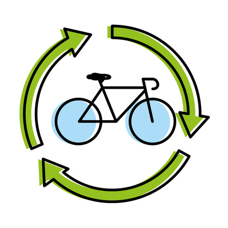 bicycle vehicle with arrows around vector illustration design