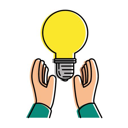 hands with bulb energy light icon vector illustration design Illustration