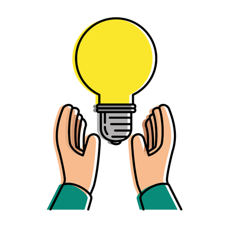 hands with bulb energy light icon vector illustration design Çizim
