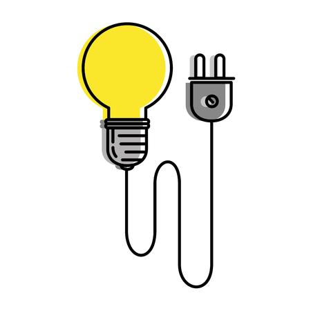 bulb energy light with wire vector illustration design Ilustração