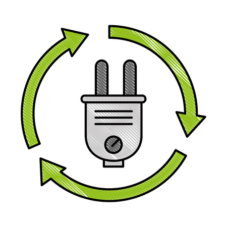 energy plug connector with arrows around vector illustration design