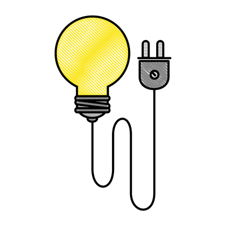 bulb energy light with wire vector illustration design Ilustração