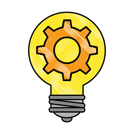 Bulb energy with gear vector illustration design.