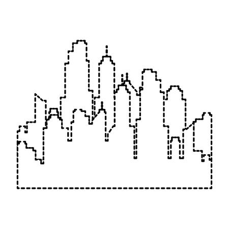 Progettazione dell'illustrazione di vettore dell'icona isolata paesaggio urbano delle costruzioni. Archivio Fotografico - 97923375