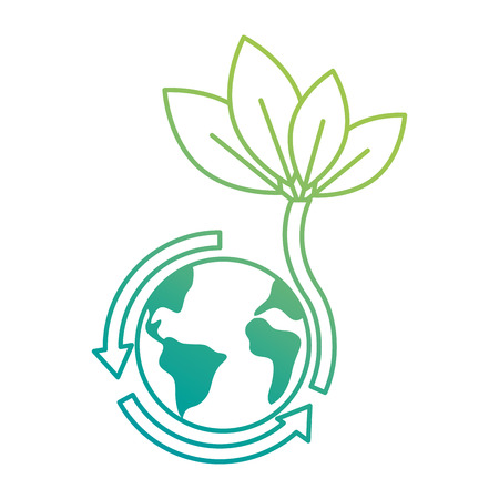 world planet earth with arrows and leafs vector illustration design