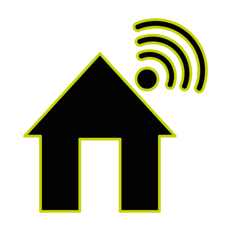 house with wifi signal icon vector illustration design