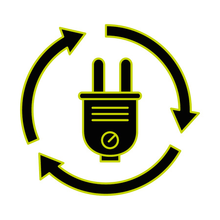 Energy plug connector with arrows around vector illustration design