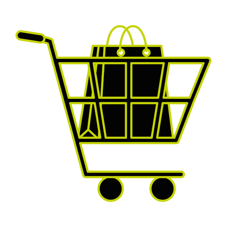 cart with paper shopping bag vector illustration design