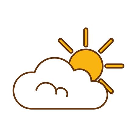 cloud weather with sun vector illustration design Illustration