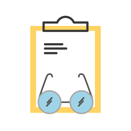 laboratory glasses with clipboard vector illustration design