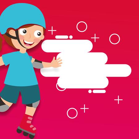 girl riding roller skating sport kids activity vector illustration