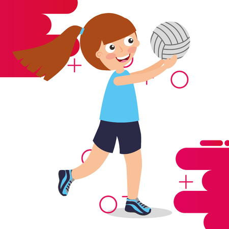 little girl volleybal player sport kids activity vector illustration