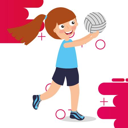 little girl volleybal player sport kids activity vector illustration