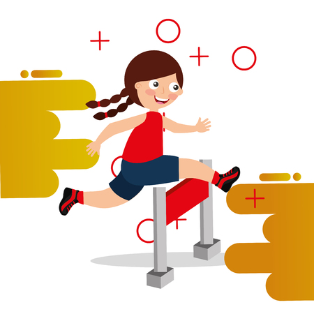 hurdle race little girl jumping over obstacle vector illustration