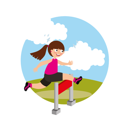 hurdle race little girl jumping over obstacle in landscape background vector illustration Stock Illustratie