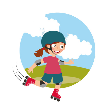 girl riding roller skating with field background vector illustration