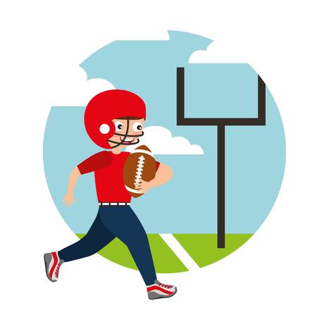 アメリカンフットボールスポーツキッズ活動ベクトルイラストをプレイ少年  イラスト・ベクター素材