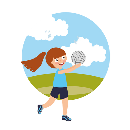 little girl volleybal player sport kids with field background vector illustration
