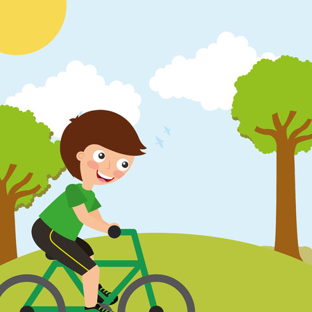young boy riding on bike sport in landscape vector illustration