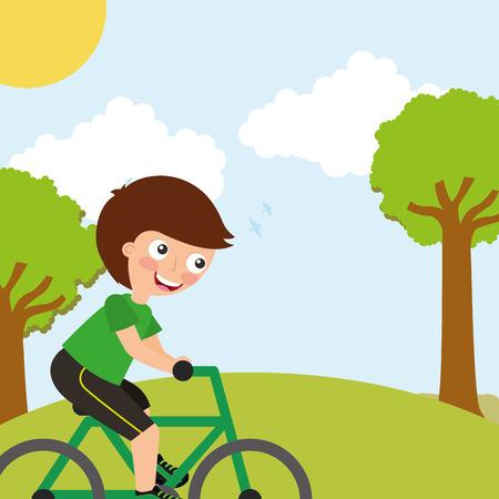 young boy riding on bike sport in landscape vector illustration