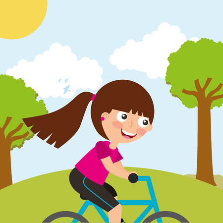 cute little girl riding bike sport in landscape vector illustration