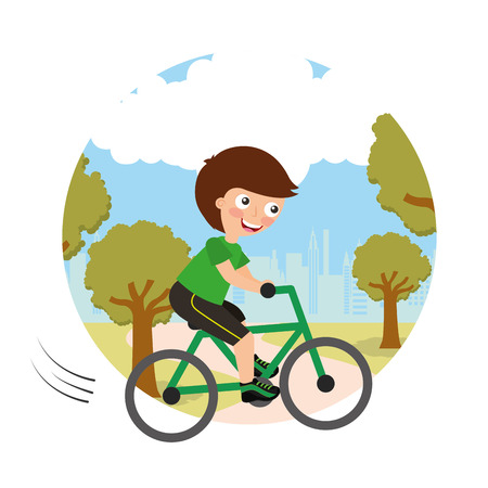 young boy riding on bike sport activity in landscape background vector illustration