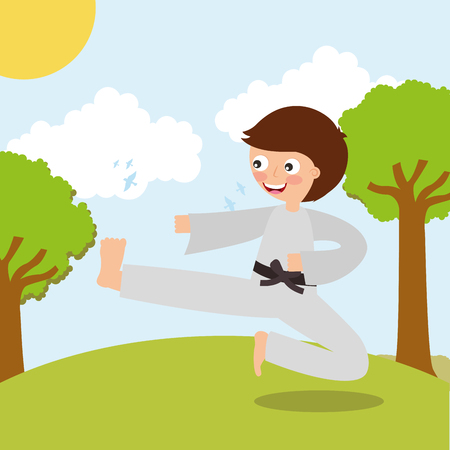 little boy training karate martial art sport in landscape vector illustration