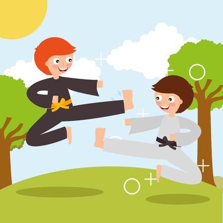 little boy training karate martial art sport in landscape vector illustration