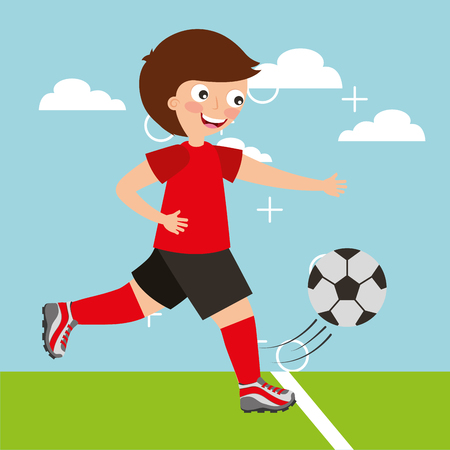 little soccer football player in motion with ball vector illustration