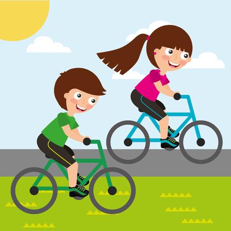 cute little girl and boy riding bike race sport activity vector illustration Illustration