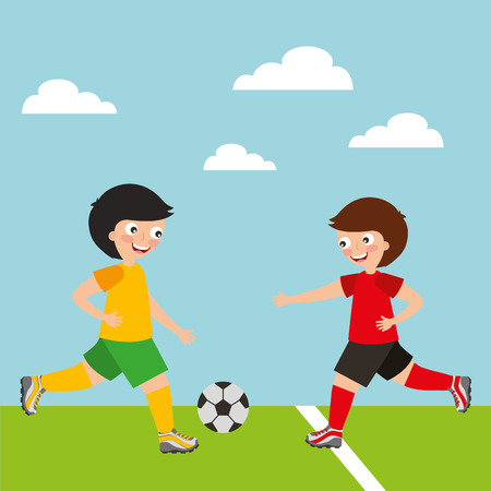 sport kids activity soccer players little boys vector illustration