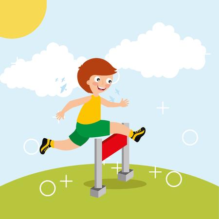 little boy jump in obstacle race sport kids activity vector illustration