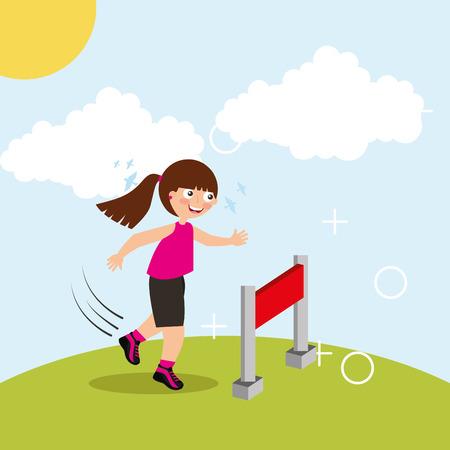 hurdle race little girl jumping over obstacle in landscape vector illustration Illustration