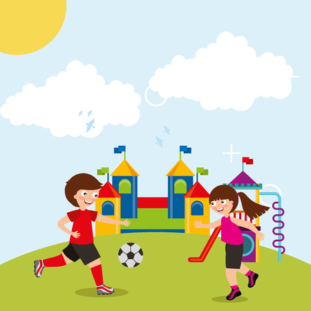 sport kids activity - boy and girl playing football soccer in playground field vector illustration