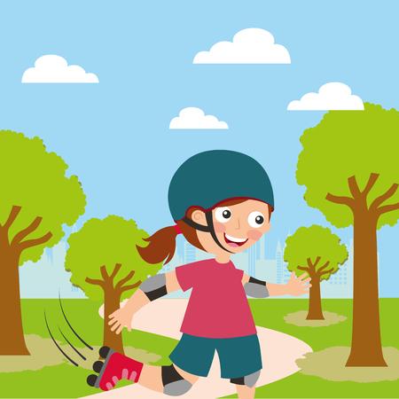 girl riding roller skating sport kids activity in landscape vector illustration