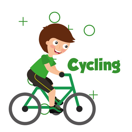 sport kids activity cycling boy riding bycicle vector illustration